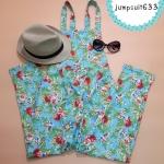 SALE!! Jumpsuit633-โทนสีฟ้า ชุดเอี๊ยมกางเกงขายาวเอวยืดมีกระเป๋าข้าง ผ้าฮานาโกะหนาเนื้อดีลายดอกไม้พิมพ์ลายคมชัด