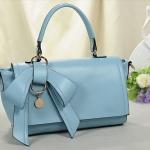 กระเป๋าถือผู้หญิง กระเป๋าแฟชั่น หนังเรียบ ดีไซน์ติดโบว์ แฟชั่น ฝรั่งเศส กระเป๋าถือออกงาน ไปทำงาน เรียบหรู สีฟ้า no 441435_1