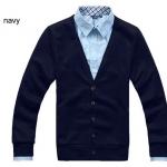 เสื้อกันหนาวผู้ชาย เสื้อใส่คลุมในออฟฟิต เสื้อคลุมแขนยาว ไหมพรม สำหรับผู้ชาย สวยเรียบ มีสไตล์ ใส่ได้ทุกวัน สีน้ำเงินเข้ม no 603068_7