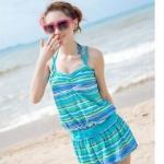 ชุดว่ายน้ำ ทูพีช แบบ บิกินี่ สีฟ้า น้ำทะเล พร้อม เสื้อคลุม คล้องคอ กับ กางเกงขาสั้น เข้าชุดกัน สามารถใส่เดินเล่น ชายหาด สวย ๆ 911593_2