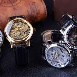 นาฬิกาข้อมือ โชว์กลไก Mechanical watch หน้าปัด มังกร สุดหรู เสริมบารมี นาฬิกาสายหนัง ใส่สวย ของขวัญสุดพิเศษ 500583