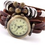 นาฬิกาข้อมือผู้หญิง นาฬิกา สายหนังถัก สไตล์ วินเทจ สายหนังแท้ สีน้ำตาล ใส่จี้รูปดอกไม้ ร้อยแหวน สีเงิน สินค้าโปรโมชั่น ลดราคา 640161