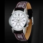 นาฬิกาข้อมือ ผู้ชาย สายหนังแท้ หน้าปัดกลม สีขาว สายสีน้ำตาล สำหรับผู้ชาย สไตล์ ผู้ใหญ่ หน่อย ลายหนังจรเข้ ของขวัญให้พ่อ ให้แฟน สุดหรู 181477_2