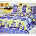 ชุดผ้าปูเตียง ผ้าปูที่นอน สีเหลืองน้ำเงิน Cotton 6 ฟุต 5 ชิ้น B003