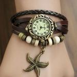 นาฬิกาข้อมือ ผู้หญิง สายหนังถัก สไตล์สร้อยข้อมือ วินเทจ สายสีน้ำตาล ร้อยลูกปัด ห้อยจี้รูปปลาดาว no 9798247_7
