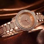 นาฬิกาข้อมือ ผู้หญิง ใส่ทำงาน นาฬิกาข้อมือ แบบหรูหรา ฝังเพชร CZ AAA ทั้งเรือน สีทอง Rose Gold สีเงิน นาฬิกาข้อมือ หรูหราใส่ออกงาน 436448