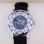 นาฬิกา Automatic นาฬิกาข้อมือสายหนัง แบบโชว์กลไก ไม่ต้องใส่ถ่าน หน้าปัด ฉลุลาย สีฟ้า นาฬิกาข้อมือผู้หญิง ผู้ชาย ใส่ได้ no 39441_1