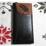 กระเป๋าสตางค์ Levis หนังแท้ สีน้ำตาลเข้ม ใบยาว แต่งลายด้านบน Le5606