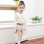 ชุดกระโปรงเด็กผู้หญิง น่ารักแบบไทย ๆ มีระบายเล็ก ๆ ที่อก ชุดเด็กผู้หญิง แต่งโบว์ น่ารัก ๆ สีครีม เบจ 687810