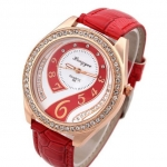 นาฬิกาข้อมือผู้หญิง สายหนัง สีแดง เพิ่มความหรูหรา ด้วย คริสตัล เพชร ล้อมหน้าปัด ดีไซน์ เพชรด้านใน สวยหรู 44728_4