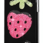 เคส iPhone 5c ประดับเม็ดคริสตัล ด้านใน คล้ายเม็ดทราย เคส แบบ เก๋ งาน Hand made ไม่ซ้ำใคร ลายผลสตอเบอร์รี่ สีดำ สีขาว no 98246_2