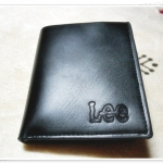 กระเป๋าสตางค์หนังแท้ lee ใบสั้นสีดำ L561