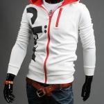 เสื้อ แจ็คเก็ต ผู้ชายแขนยาว ซิปหน้า เสื้อหมวก สีขาว ตัดกับ ผ้าด้านใน สีแดง แบบมี ดีไซน์ เสื้อ Jacket แบบ มีฮู้ด เท่ ๆ แบบสวย 487640