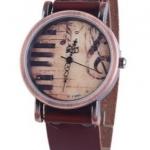 นาฬิกาข้อมือผู้หญิง นาฬิกาข้อมือสายหนังแท้ หน้าปัด รูป เปียนโน สำหรับคนรักดนตรี หน้าปัด คลาสสิค สไตล์วินเทจ สุด ๆ 973364