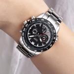 นาฬิกาข้อมือ ผู้ชาย สาย stainless แท้ สีเงิน นาฬิกาแบบเท่ ๆ ดูดี มีระดับ หน้าปัดใหญ่ ดำ ขาว น้ำเงิน นาฬิกาใส่ทำงาน เท่ ๆ 578428