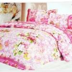 ผ้าปูที่นอน ผ้าปูเตียง 6 ฟุต 5 ชิ้น สีชมพู P006