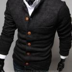 เสื้อกันหนาวผู้ชาย เสื้อคลุมผู้ชายแขน 3 ส่วน เสื้อ Jacket แบบสูท สไตล์ ยุโรป กระดุมหน้า มีกระเป๋าเสื้อ ด้านหน้า สีเทาเข้ม no 825908_2