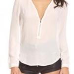 เสื้อผ้าชีฟอง แขนยาว เสื้อแฟชั่น ผู้หญิง ผ้าชีฟอง ดีไซน์ ซิปรูด สามารถปรับความลึกของคอเสื้อ ได้เอง สีพื้น สีขาว 245334