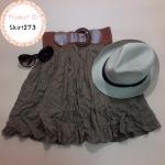 **สินค้าหมด skirt273 กระโปรงแฟชั่นเย็บติดเข็มขัด ผ้านิ่มทิ้งตัวมีน้ำหนัก สีน้ำตาลทอง