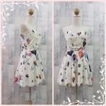 **สินค้าหมด dress2249 เดรสแฟชั่นเกาะอกเสริมฟองน้ำบาง ซิปหลัง เว้าเอว ผ้าฮานาโกะลายบอลลูน สีขาวครีม