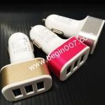 หัว ชาร์จในรถ+USB Car Charger เพิ่มช่องชาร์จ 3 ช่อง (ชาร์จได้ทุกรุ่นคะ) ไฟแรงคะ