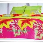 5 ฟุต 3 ชิ้น ชุดเครื่องนอน ผ้าปูที่นอน สีเขียวลายใบไม้