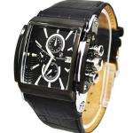 นาฬิกาข้อมือ ผู้ชาย สายหนังแท้ มีระบบ Calendar ดูวันที่ได้ นาฬิกาข้อมือสายหนัง สีดำ หน้าปัดดำ สี่เหลี่ยม คลาสสิค ของขวัญสำหรับผู้ใหญ่ สุดหรู 873321