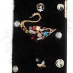 เคส iphone 6 Plus ขนาด 5.5 นิ้ว คริสตัล ห่านทองคำ ติด เพชรพลอย แต่ง ขนเฟอร์ สีดำ เคสหรู เคส Diy 3 มิติ สวยเก๋ ดูดี มีระดับ459812