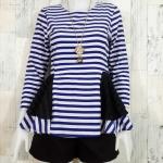 SALE!! blouse1804 เสื้อแฟชั่น ทรงเข้ารูปแขนยาว ระบายเอว ซิปหลัง ผ้าไหมอิตาลีเนื้อนิ่มสีครีมน้ำเงิน