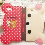 เคส iphone 6 6 plus เคสลายการ์ตูนดัง รีแลคคุมะ จากญี่ปุ่น รูปหน้า พับครึ่งได้ กางออกเป็นหน้าเต็ม หนัง pu กันน้ำ สีแดง ลายจุด 108123_3