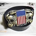 เข็มขัดหนังแท้ หัวไฟแช๊กถอดได้ ลายสิงห์ธงอเมริกา B108
