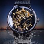 นาฬิกาข้อมือ โชว์กลไก Mechanical watch นาฬิกาเทรนด์ใหม่ มาแรง หน้าปัดเห็นการทำงาน สายโซ่แบน สุดหรู ดูไฮโซ 196501