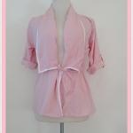 **สินค้าหมด Sale!! blouse1687 เสื้อคลุมแฟชั่นตัวยาว ผ้าหางกระรอก เอวรูด แขนสี่ส่วนอินธนู สีชมพูพาสเทล