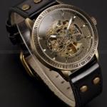 นาฬิกาข้อมือผู้ชาย แบบ โชว์กลไก ด้านใน นาฬิกาข้อมือเปลือย นาฬิกาสายหนังแท้ สีดำ ไม่ต้องใช้งาน หน้าปัดคลาสสิค สไตล์วินเทจ 42569