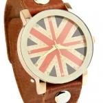 นาฬิกาข้อมือ ผู้หญิง ผู้ชาย ใส่ได้ นาฬิกาข้อมือ สายหนังแท้ สีน้ำตาล สไตล์ วินเทจ แบบคลาสสิค หน้าปัด ดีไซน์ เป็น ธงชาติอังกฤษ UK 306884