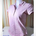 #155004 Used เสื้อยืด คอปก สีชมพู เนื้อนุ่ม