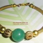 (ขายแล้วค่ะ) B002 กำไลทองเหลือง ประดับหินอาเกต(เขียว)