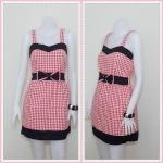 **สินค้าหมด Sale!! dress2001 เดรสแฟชั่นผ้าเนื้อดีลายสก็อต โบว์เอว สีแดง
