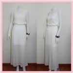 **สินค้าหมด dress2211 แม็กซี่เดรส/เดรสยาวแฟชั่น แขนกุด เอวยืด มีซับใน ผ้าลูกไม้ยืดเนื้อนิ่มสีขาว