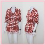 **สินค้าหมด Sale!! blouse1770 เสื้อเชิ้ตแฟชั่นงานแพลตตินั่มคอปก กระดุมหน้า แขนยาว เอวจัมพ์ ผ้าสปันลายหินโทนสีแดงเข้ม