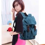 กระเป๋าเป้ กระเป๋าสะพายหลัง Backpack สไตล์ เกาหลี ผู้หญิง ผู้ชาย ใช้ได้ ผ้า Canvas ทรงสไตล์ นักเดินทาง สำหรับผู้ชาย เท่ ๆ สีน้ำตาล ฟ้า ครีม no 9031589