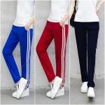 Trousers487 กางเกงขายาวแนวสปอร์ตสีพื้นแต่งแถบสีขาว เอวสม็อคยางยืด กระเป๋าสองข้าง ผ้าคอตตอนเนื้อนุ่มยืดขยายได้เยอะ มี 3 สี น้ำเงิน, ดำ, แดง