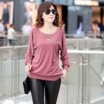 เสื้อยืด แฟชั่น คอกว้าง แบบ มีดีไซน์ เสื้อคอกว้าง แฟชั่นยุโรป เสื้อแขนยาว เอวจั้ม แขนจั้ม ตัวใหญ่ ใส่สบาย สีชมพู 723736_2