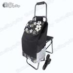 Shopping Trolley Bag - กระเป๋าผ้ามีล้อลาก กระเป๋ารถเข็นล้อลาก กระเป๋ารถเข็นพับได้ รุ่น 6 ล้อ มีที่นั่งพัก ล้อลากขึ้นลงบันไดสะดวก