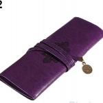 กระเป๋าใส่เครื่องสำอางค์ กระเป๋าใส่ดินสอ ปากกา หนังแท้ สไตล์ วินเทจ สามารถใส่ ดินสอ เขียนตา ดินสอแต่งหน้าได้ สีม่วง no 31790_2