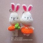 พวงกุญแจกระต่ายคู่รัก สีส้ม