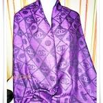 ผ้าพันคอ ผ้าไหม Chanel สีม่วง