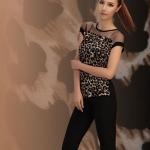 เสื้อแฟชั่นผู้หญิง เสื้อผู้หญิง ใส่กับ กางเกงเลคกิ้ง ลายเสือ สีน้ำตาล ซีทรูสีดำ ช่วงไหล่ คอกว้าง ใส่เที่ยว เหมาะสำหรับ สาวเปรี้ยว สุด ๆ 80900_1