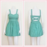 **สินค้าหมด dress2306 เดรสแฟชั่นอกเสริมฟองน้ำบาง สายสปาเก็ตตี้ หลังไขว้ ซิปข้าง เอวจับจีบ ผ้าสกินนี่(ยืดได้เยอะ) สีเขียวมิ้นท์