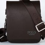กระเป๋าสะพายข้างผู้ชาย ขนาดเล็ก กระเป๋า polo หนัง pu กันน้ำ กันรอย สีดำ และ สีน้ำตาล ดีไซน์ ซ่อนกระดุมแม่เหล็ก สำหรับใส่ โทรศัพท์ กระเป๋าสตางค์ 173072